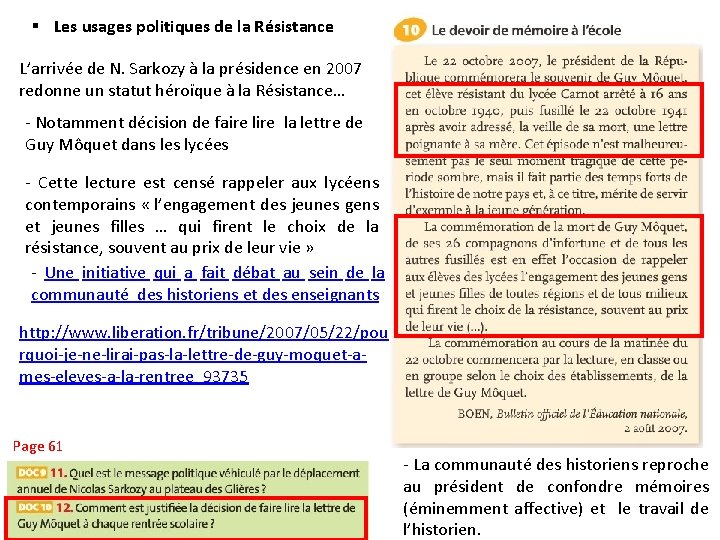 § Les usages politiques de la Résistance L'arrivée de N. Sarkozy à la présidence