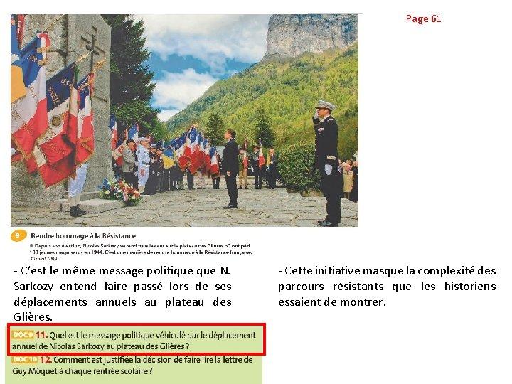Page 61 - C'est le même message politique N. Sarkozy entend faire passé lors