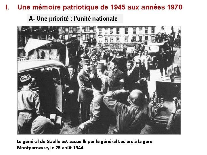 I. Une mémoire patriotique de 1945 aux années 1970 A- Une priorité : l'unité