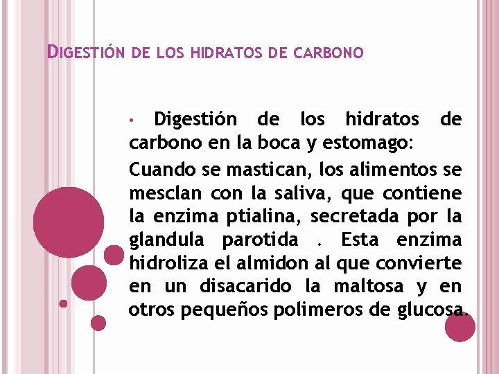 DIGESTIÓN DE LOS HIDRATOS DE CARBONO Digestión de los hidratos de carbono en la