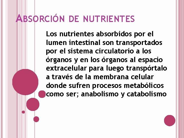 ABSORCIÓN DE NUTRIENTES Los nutrientes absorbidos por el lumen intestinal son transportados por el
