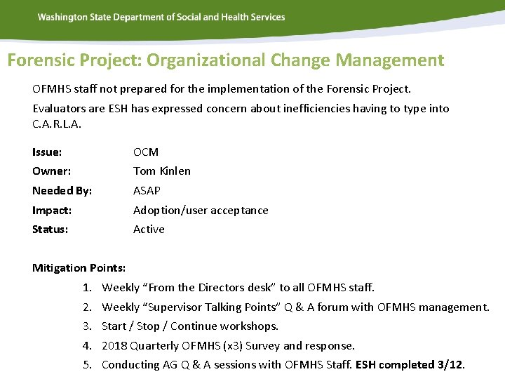 Forensic Project: Organizational Change Management OFMHS staff not prepared for the implementation of the