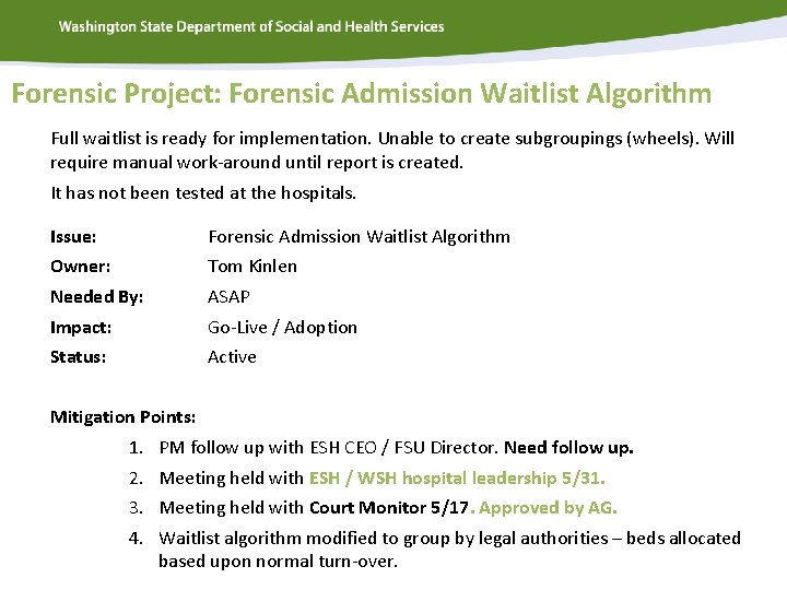Forensic Project: Forensic Admission Waitlist Algorithm Full waitlist is ready for implementation. Unable to