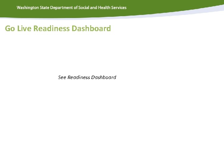 Go Live Readiness Dashboard See Readiness Dashboard