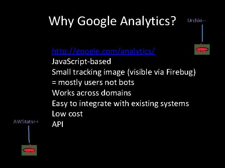 Why Google Analytics? AWStats++ Urchin-- http: //google. com/analytics/ Java. Script-based Small tracking image (visible