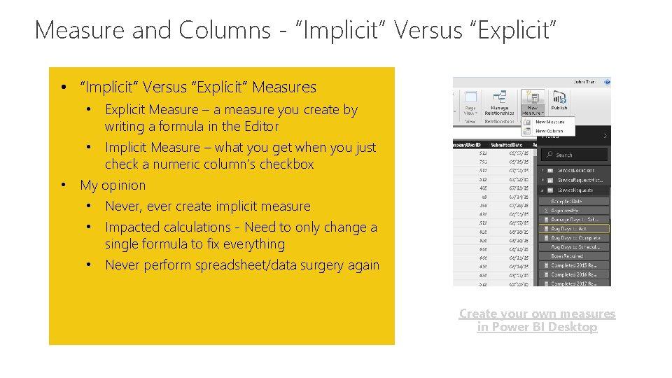 """Measure and Columns - """"Implicit"""" Versus """"Explicit"""" Feature • """"Implicit"""" Versus """"Explicit"""" Measures •"""