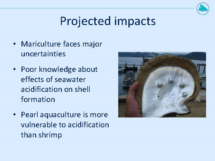 Projected impacts • Mariculture faces major uncertainties • Poor knowledge about effects of seawater