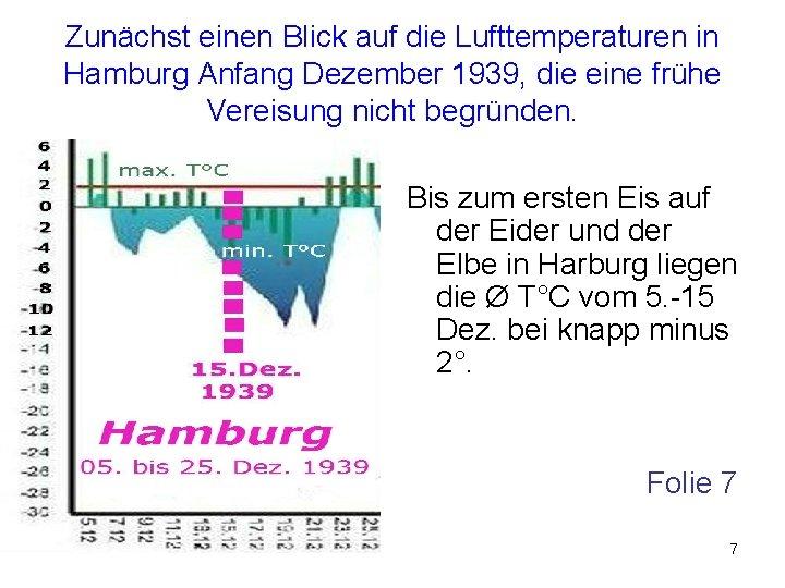 Zunächst einen Blick auf die Lufttemperaturen in Hamburg Anfang Dezember 1939, die eine frühe
