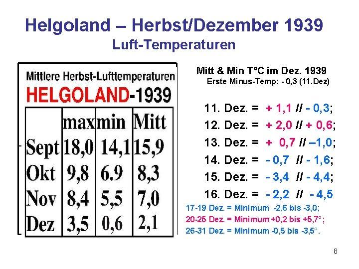Helgoland – Herbst/Dezember 1939 Luft-Temperaturen Mitt & Min T°C im Dez. 1939 Erste Minus-Temp: