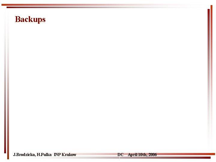 Backups J. Brodzicka, H. Palka INP Krakow DC April 10 th, 2006