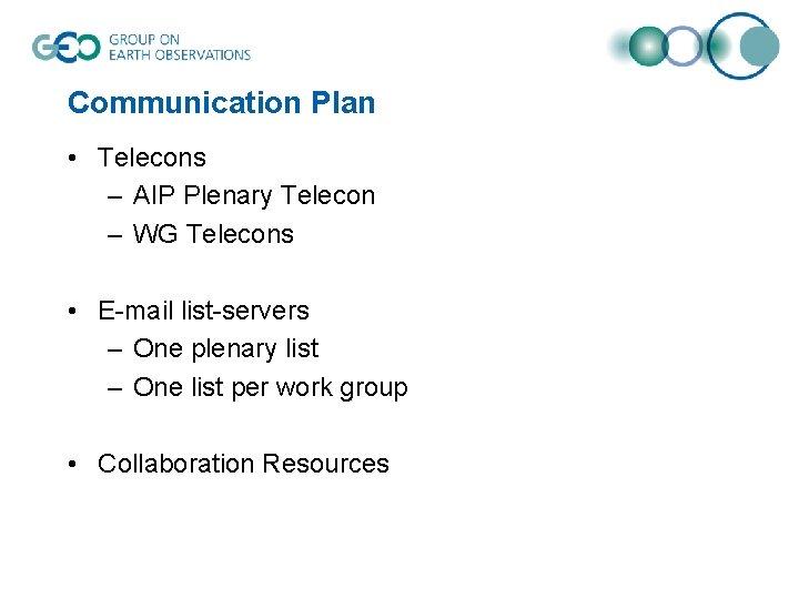 Communication Plan • Telecons – AIP Plenary Telecon – WG Telecons • E-mail list-servers