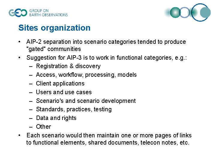 """Sites organization • AIP-2 separation into scenario categories tended to produce """"gated"""" communities •"""
