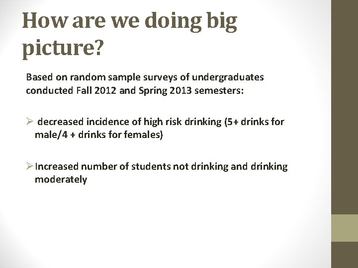 How are we doing big picture? Based on random sample surveys of undergraduates conducted