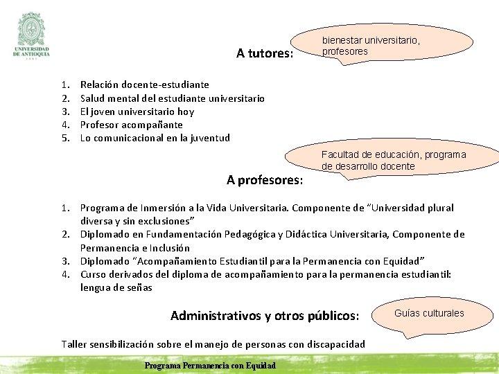 A tutores: 1. 2. 3. 4. 5. bienestar universitario, profesores Relación docente-estudiante Salud mental