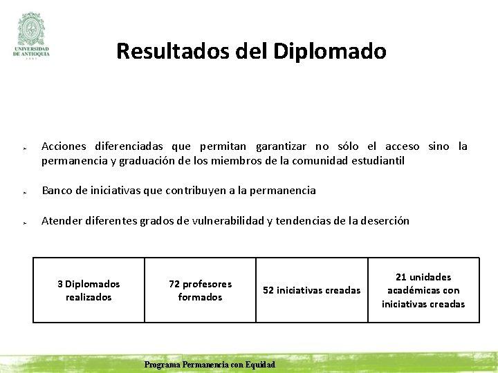 Resultados del Diplomado ➢ ➢ ➢ Acciones diferenciadas que permitan garantizar no sólo el