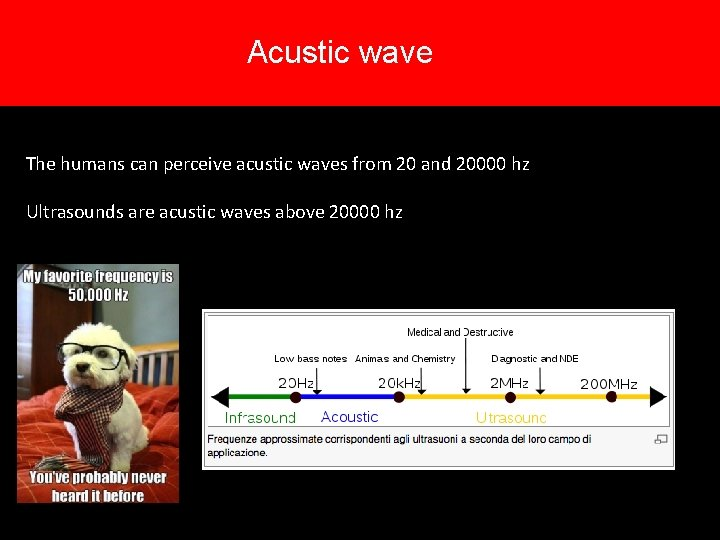 Acustic wave The humans can perceive acustic waves from 20 and 20000 hz