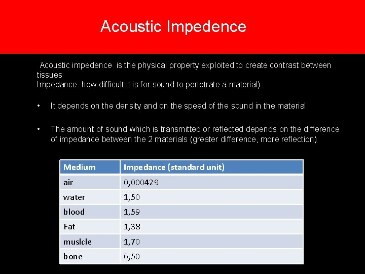 Acoustic Impedence Acoustic impedence is the physical property exploited to create contrast between tissues