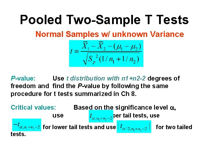 Pooled Two-Sample T Tests Normal Samples w/ unknown Variance P-value: Use t distribution with