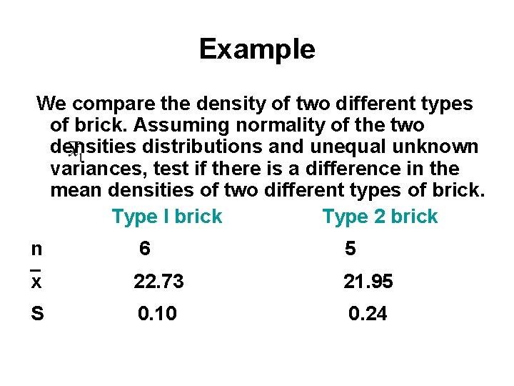 Example We compare the density of two different types of brick. Assuming normality of