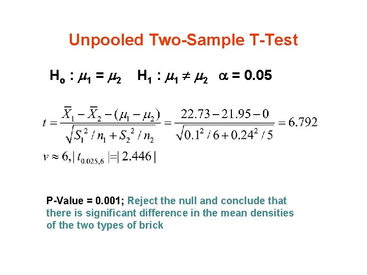 Unpooled Two-Sample T-Test Ho : 1 = 2 H 1 : 1 2 =