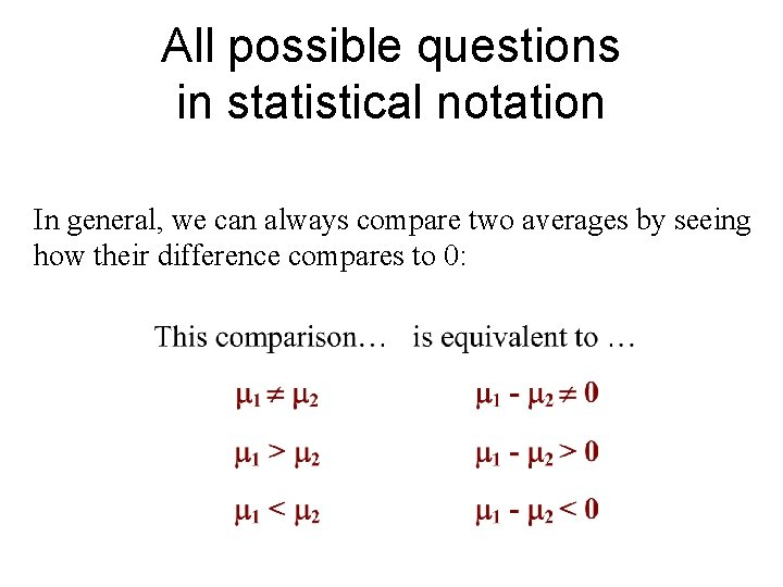 All possible questions in statistical notation In general, we can always compare two averages