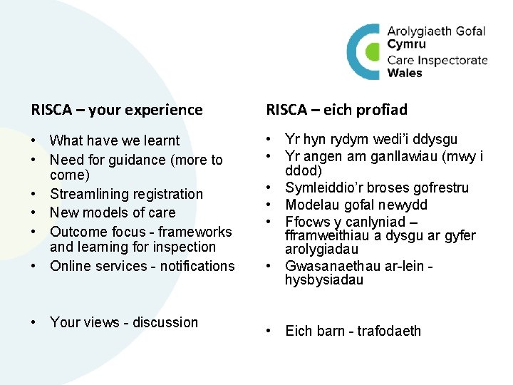 RISCA – your experience RISCA – eich profiad • What have we learnt •