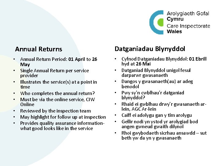 Annual Returns • Annual Return Period: 01 April to 26 May • Single Annual