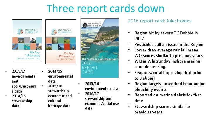 Three report cards down 2016 report card: take homes • • • 2013/14 environmental