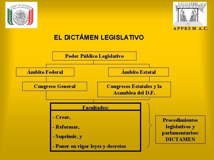 A P P R E M A. C. EL DICTÁMEN LEGISLATIVO Poder Público Legislativo