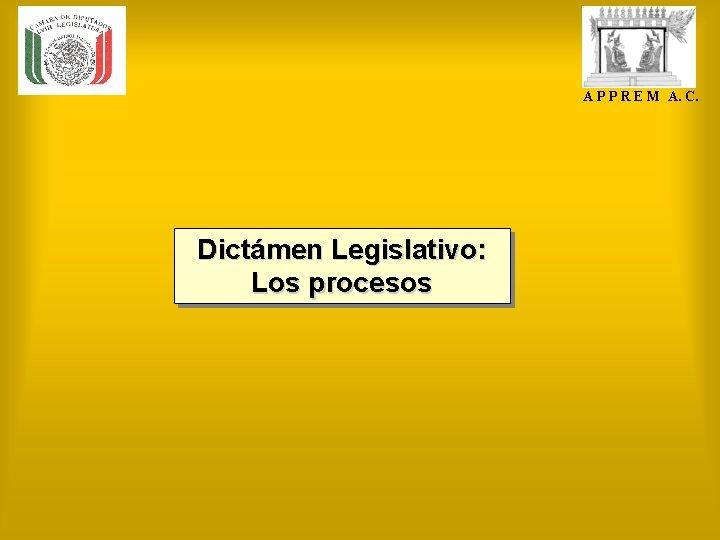 A P P R E M A. C. Dictámen Legislativo: Los procesos