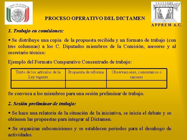PROCESO OPERATIVO DEL DICTAMEN A P P R E M A. C. 1. Trabajo