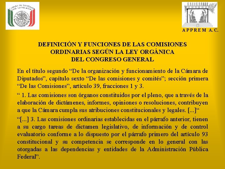 A P P R E M A. C. DEFINICIÓN Y FUNCIONES DE LAS COMISIONES