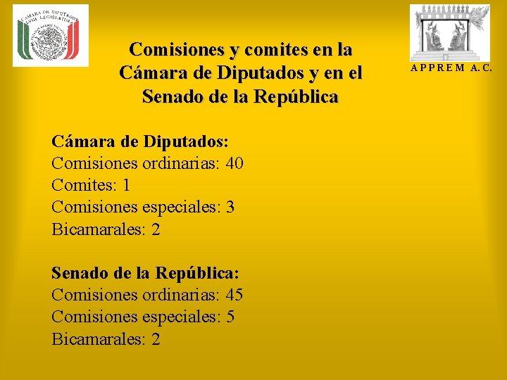 Comisiones y comites en la Cámara de Diputados y en el Senado de la