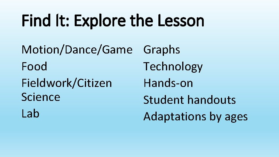 Find It: Explore the Lesson Motion/Dance/Game Food Fieldwork/Citizen Science Lab Graphs Technology Hands-on Student
