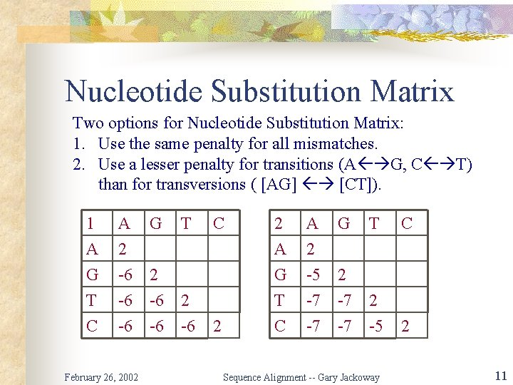 Nucleotide Substitution Matrix Two options for Nucleotide Substitution Matrix: 1. Use the same penalty