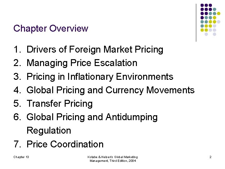Chapter Overview 1. 2. 3. 4. 5. 6. Drivers of Foreign Market Pricing Managing