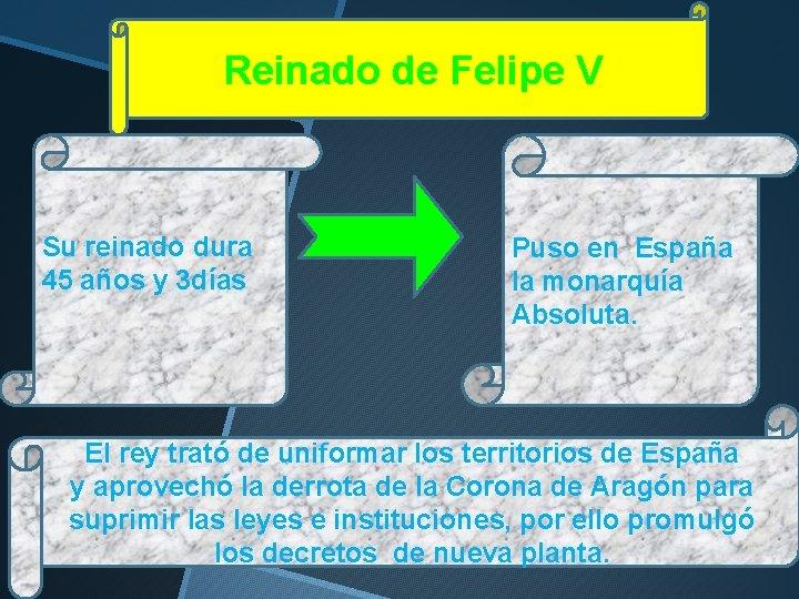 Reinado de Felipe V Su reinado dura 45 años y 3 días Puso en