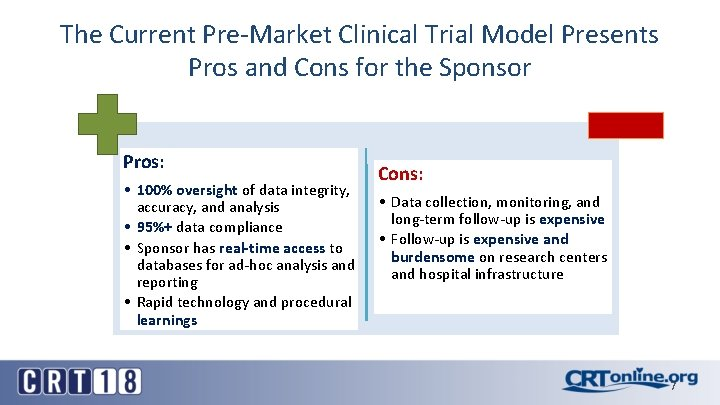 The Current Pre-Market Clinical Trial Model Presents Pros and Cons for the Sponsor Pros: