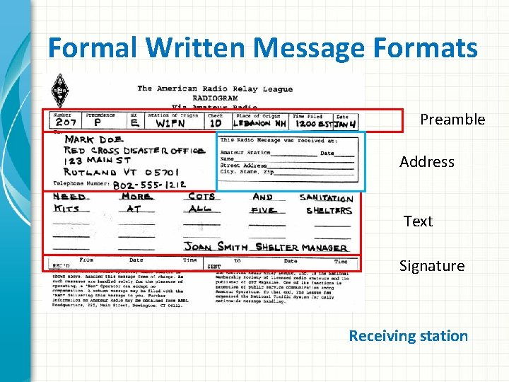 Formal Written Message Formats Preamble Address Text Signature Receiving station