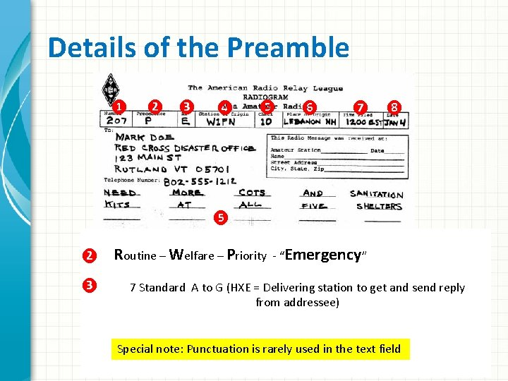 Details of the Preamble ❶ ❷ ❸ ❹ ❺ ❻ ❼ ❽ ❺ ❷