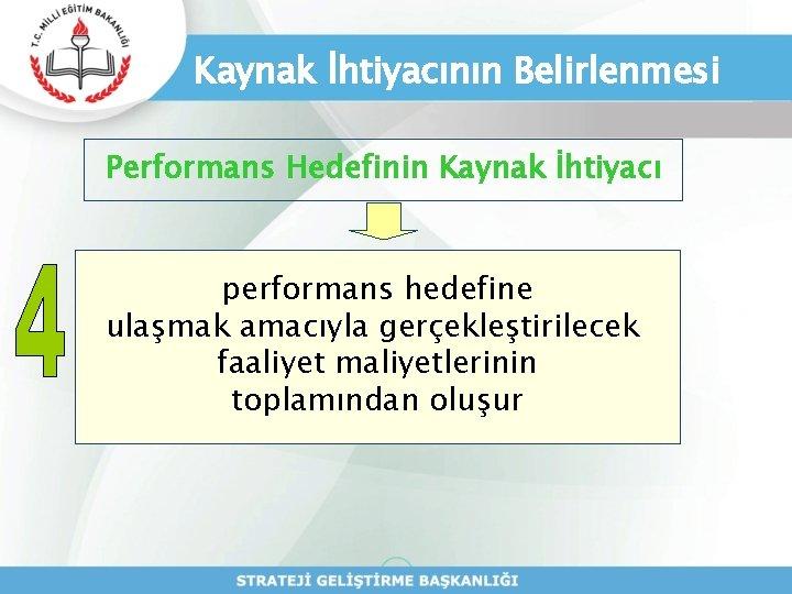 Kaynak İhtiyacının Belirlenmesi Performans Hedefinin Kaynak İhtiyacı performans hedefine ulaşmak amacıyla gerçekleştirilecek faaliyet maliyetlerinin