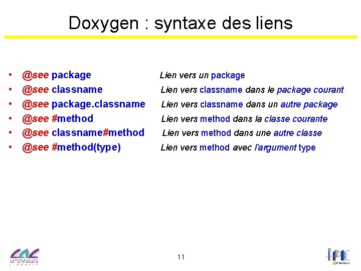 Doxygen : syntaxe des liens • • • @see package @see classname @see package.