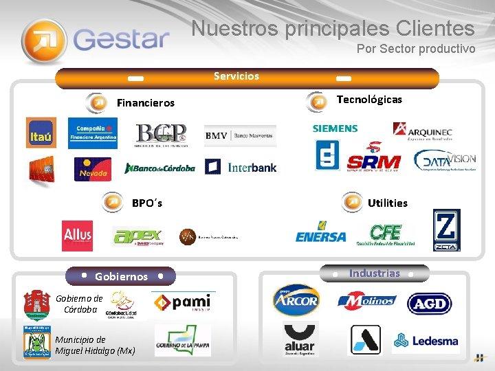Nuestros principales Clientes Por Sector productivo Servicios Financieros BPO´s Gobierno de Córdoba Municipio de