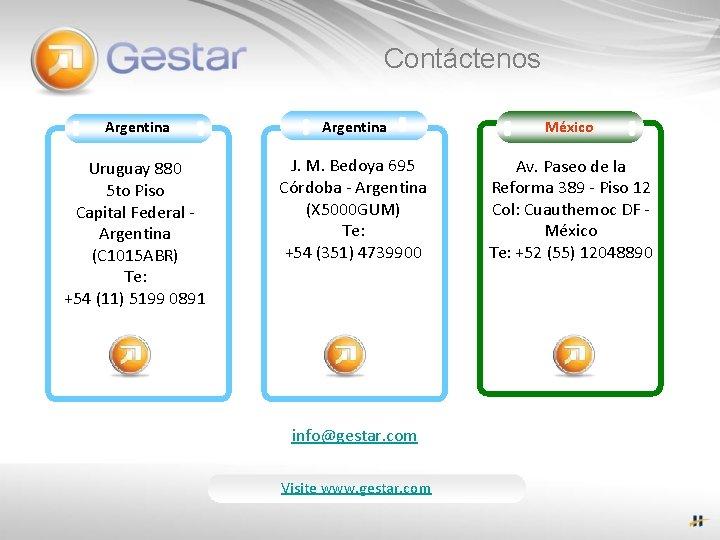 Contáctenos Argentina México Uruguay 880 5 to Piso Capital Federal - Argentina (C 1015