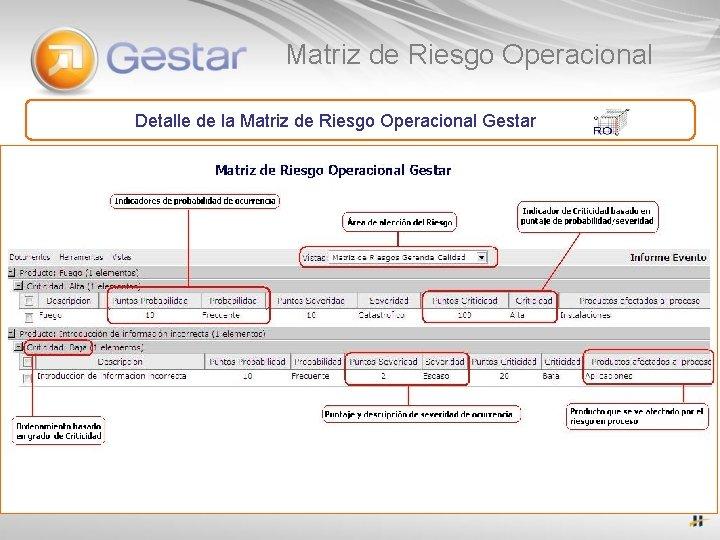 Matriz de Riesgo Operacional Detalle de la Matriz de Riesgo Operacional Gestar