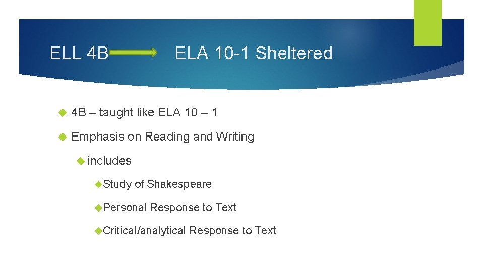 ELL 4 B ELA 10 -1 Sheltered 4 B – taught like ELA 10