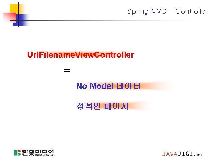 Spring MVC - Controller Url. Filename. View. Controller = No Model 데이터 정적인 페이지
