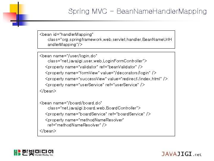 "Spring MVC - Bean. Name. Handler. Mapping <bean id=""handler. Mapping"" class=""org. springframework. web. servlet."