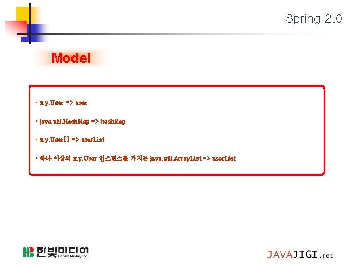 Spring 2. 0 Model • x. y. User => user • java. util. Hash.