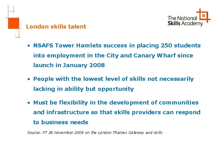 London skills talent • NSAFS Tower Hamlets success in placing 250 students into employment